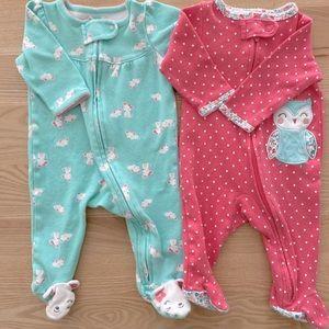EUC bundle of baby girl footed sleepers